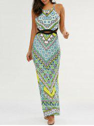 Slit Cut Out Long Boho Slip Dress - GREEN