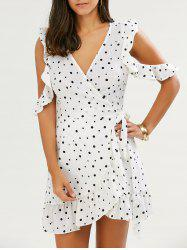 Polka Dot Chiffon Cold Shoulder Wrap Dress