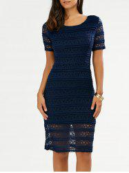 Knee Length Lace Pencil Sheath Dress - BLUE