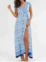 Surplice Floral Slit Maxi Flowy Beach Dress - BLUE