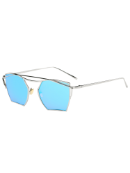 Polygonal Cambered Metal Crossbar Mirror Sunglasses