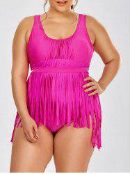 Scoop Neck Solid Color Tassels One-Piece Swimsuit For Women - ROSE 3XL