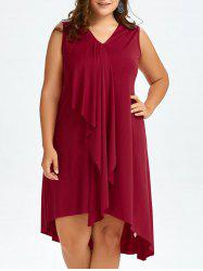 Sleeveless Drape Front Plus Size Dress