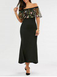 Fitted Long Embroidered Off The Shoulder Maxi Formal Dress - BLACK L