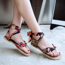 Leaf Print Ribbon Sandals