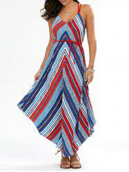 Backless Handkerchief Chevron Maxi Dress - COLORMIX