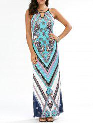 Keyhole Neck Floral Chevron Sleeveless Maxi Dress - CYAN