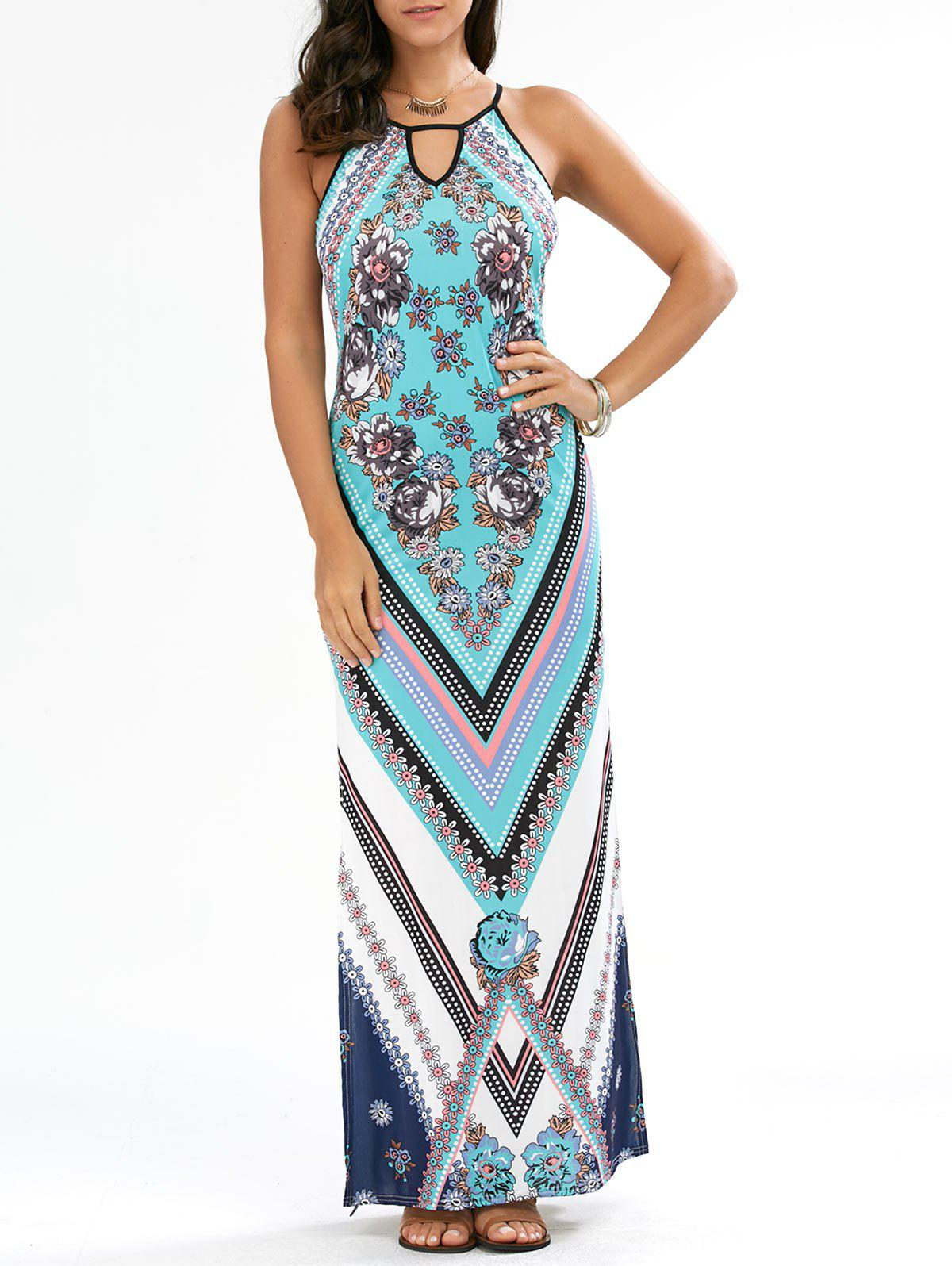 Keyhole Neck Floral Chevron Tall Maxi DressWOMEN<br><br>Size: L; Color: CYAN; Style: Bohemian; Material: Polyester; Silhouette: Sheath; Dresses Length: Floor-Length; Neckline: Keyhole Neck; Sleeve Length: Sleeveless; Waist: Natural; Pattern Type: Floral; Placement Print: Yes; With Belt: No; Season: Summer; Weight: 0.2800kg; Package Contents: 1 x Dress;