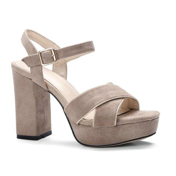 Fashion Chunky Heel Cross Strap Sandals