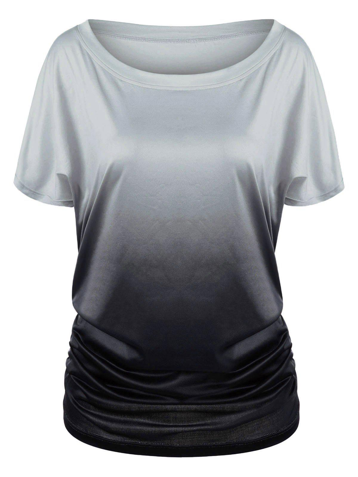 Ombre Shirred Side Plus Size Long T-ShirtWOMEN<br><br>Size: 2XL; Color: BLACK AND GREY; Material: Polyester; Shirt Length: Long; Sleeve Length: Short; Collar: Scoop Neck; Style: Casual; Season: Summer; Pattern Type: Others; Weight: 0.3900kg; Package Contents: 1 x T-Shirt;