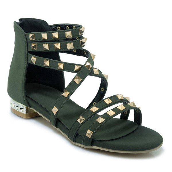 Outfit Cross Strap Metal Rivets Sandals