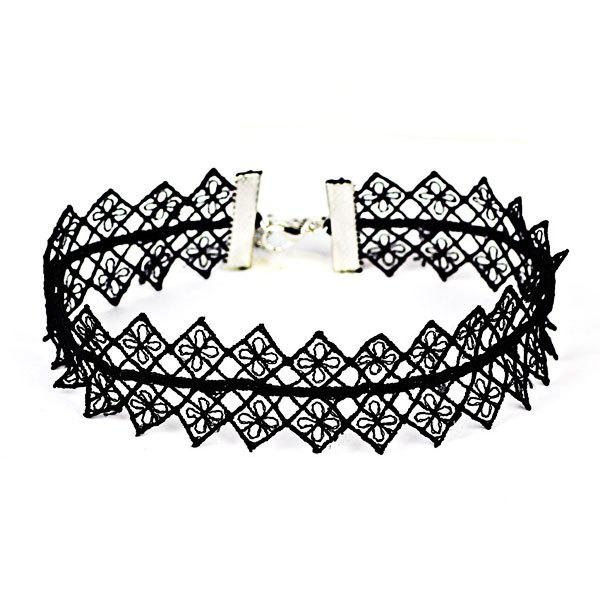 Flower Geometric Crochet Choker NecklaceJEWELRY<br><br>Color: BLACK; Item Type: Chokers Necklace; Gender: For Women; Style: Trendy; Shape/Pattern: Geometric; Length: 35CM; Weight: 0.0300kg; Package Contents: 1 x Necklace;
