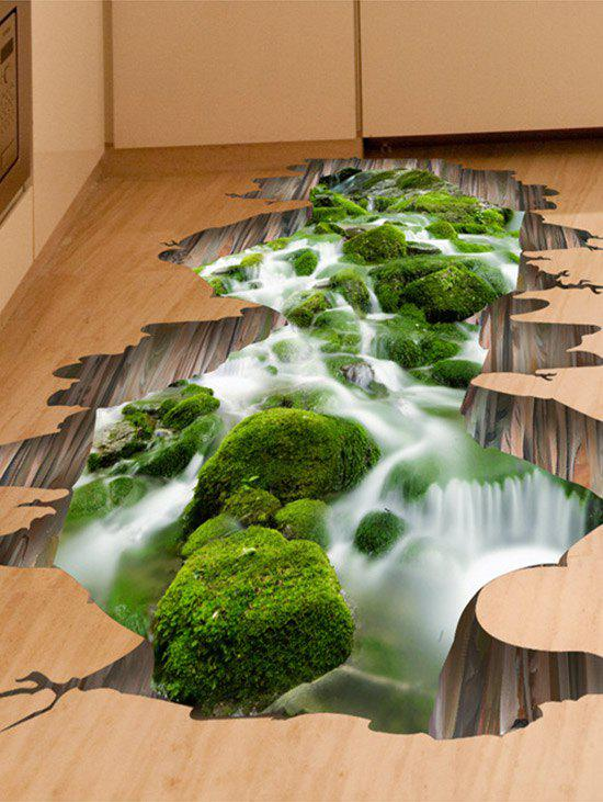 Home Decor Removable 3D Stream Floor StickerHOME<br><br>Size: 50*70CM; Color: GREEN; Wall Sticker Type: 3D Wall Stickers; Functions: Decorative Wall Stickers; Theme: Landscape; Material: PVC; Feature: Removable; Weight: 0.2500kg; Package Contents: 1 x Floor Sticker;