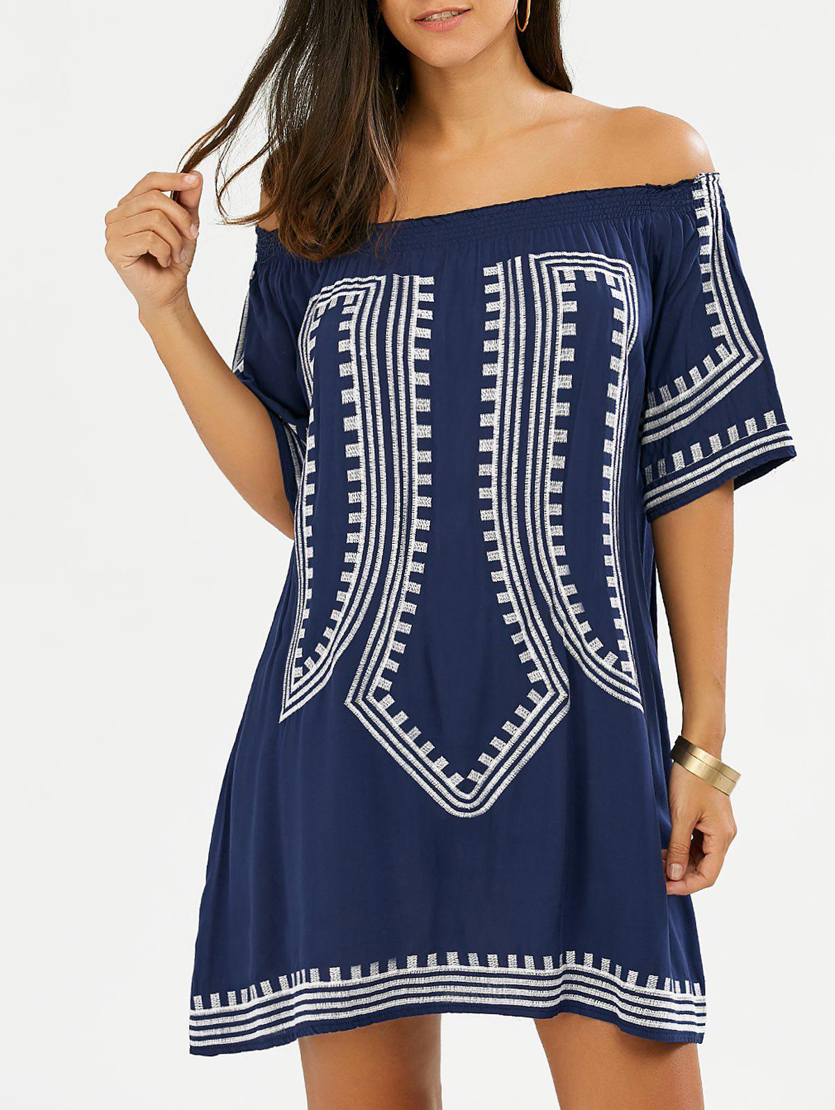 2018 Embroidered Off The Shoulder Summer Boho Shift Dress