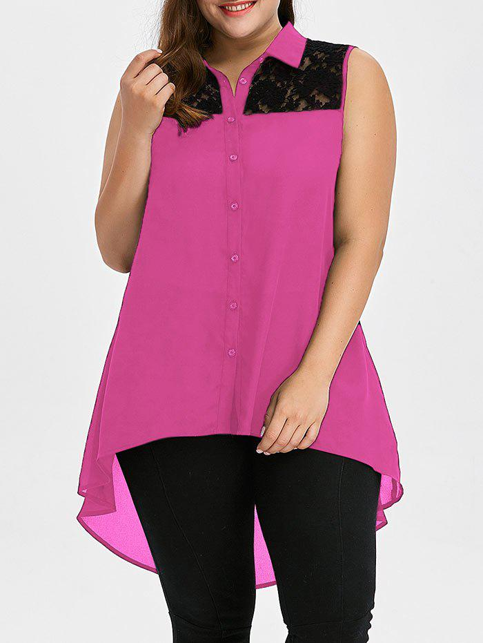 Plus Size Lace Insert High Low TopWOMEN<br><br>Size: XL; Color: TUTTI FRUTTI; Material: Polyester; Shirt Length: Long; Sleeve Length: Sleeveless; Collar: Shirt Collar; Style: Fashion; Season: Summer; Pattern Type: Patchwork; Weight: 0.3500kg; Package Contents: 1 x Tank Top;