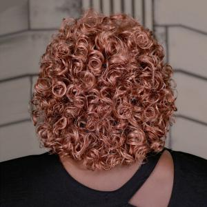 Stunning Blonde Brown Mixed Capless Fluffy Afro Curly Medium Synthetic Adiors Wig For Women - COLORMIX