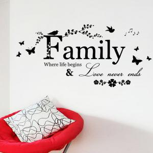 Family Butterfly Quote Wall Stickers For Living Room - Black - 50*70cm