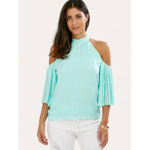 Cold Shoulder Pleated Chiffon Blouse -
