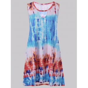 Keyhole Tie Dye Mini Sleeveless Dress