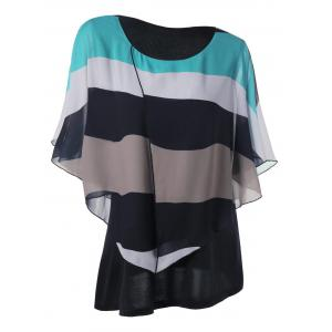 Butterfly Sleeve Chiffon Plus Size Stripe Top - Multi - 5xl