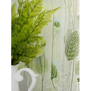 Voile Fabric Leaf Transparent Window Curtain -
