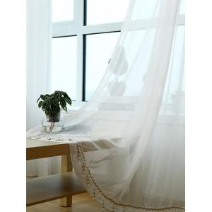 Beads Pendant Transparent Voile Fabric Window Curtain -