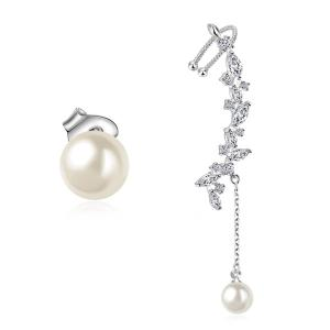 Faux Pearl Rhinestone Leaf Chain Earrings