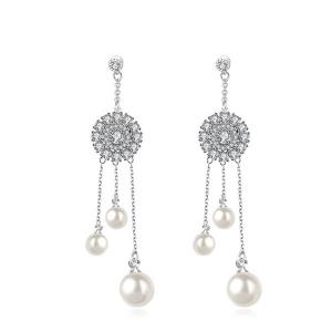 Rhinestone Faux Pearl Wedding Drop Earrings