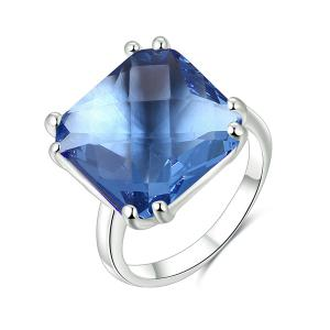 Rhinestone Circle Square Ring - Blue - 8