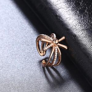 Rhinestoned Floral Cuff Ring - ROSE GOLD 6
