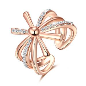 Rhinestoned Floral Cuff Ring - Rose Gold - 8
