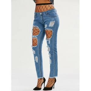 High Waisted Fishnet Tights with Ninth Ripped Jeans - DEEP BLUE 2XL