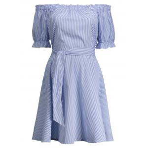 Off Shoulder Ruffle Striped A Line Dress - Blue - L