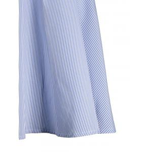 Off Shoulder Ruffle Striped A Line Dress - BLUE L