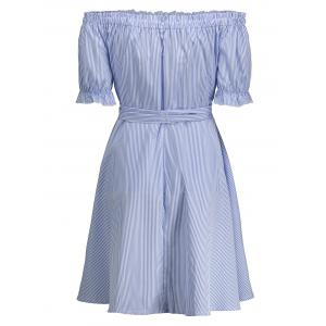 Off Shoulder Ruffle Striped A Line Dress - BLUE XL