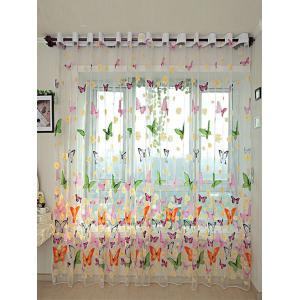 Flower Butterfly Transparent Window Curtain - Floral - W40inch*l79inch