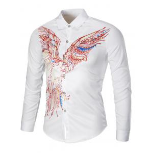 Colorful Long Sleeve Eagle Graphic Print Cool Shirt
