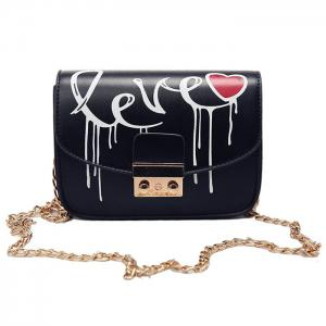 Letter Printed Chain Crossbody Bag - Black