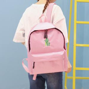 Cactus Embroidered Candy Color Backpack - PINK