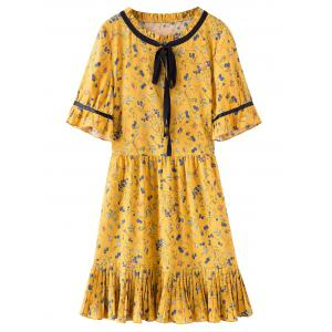 Floral Print Pleated Hem Plus Size Dress