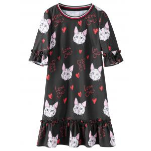 Flounce Plus Size Kitten Print Dress