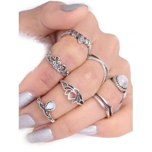 Flower Leaf Teardrop Finger Gypsy Ring Set - Silver
