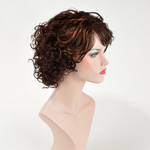 Fluffy Curly Side Bang Capless Trendy Short Brown Mixed Synthetic Wig For Women -