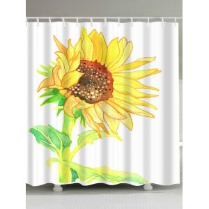 Extra Long Watercolor Sunflower Shower Curtain - White - W71inch * L79inch