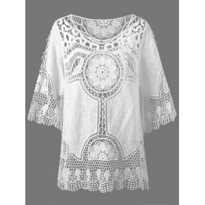 See Through Lace Crochet Top Cover Up - White - One Size