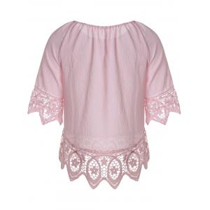 Floral Lace Panel Blouse with Feather - PAPAYA M