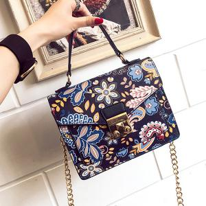 Metal Detail Print Handbag -