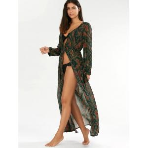 Paisley Drawstring Long Floral Kimono Cover Up - GREEN ONE SIZE