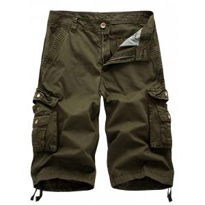 Drawstring Zip Up Pockets Cargo Shorts