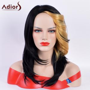 Adiors Long Tail Upwards Bang Straight Hightlight Synthetic Wig - Black And Golden